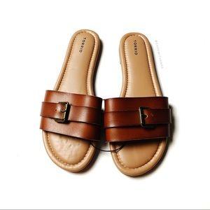 NWT Torrid Cognac Brown Buckle Slide Sandal 11